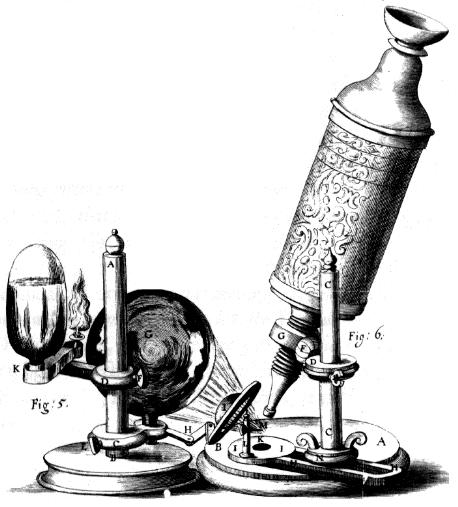 """Микроскоп Гука (гравюра из """"Микрографии"""")"""