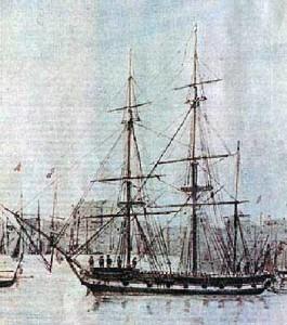 акварель О. Стенли «Бигль» в Сиднейском порту